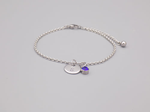 September Birthstone And Initial Bracelet