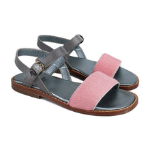 Load image into Gallery viewer, Sandals in pink pony and silver patent leather