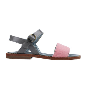Sandals in pink pony and silver patent leather