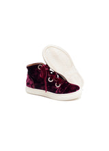 Load image into Gallery viewer, High-top sneakers in bordeaux velvet with velvet laces