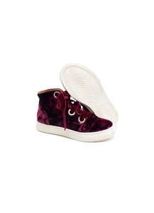 High-top sneakers in bordeaux velvet with velvet laces