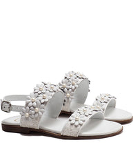 Load image into Gallery viewer, Sandals in White Dots Glitter Effect and  Floral Accessories