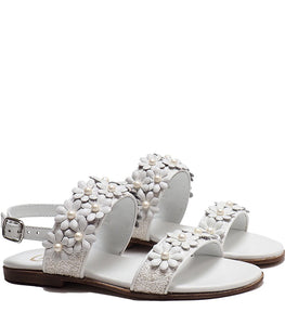 Sandals in White Dots Glitter Effect and  Floral Accessories