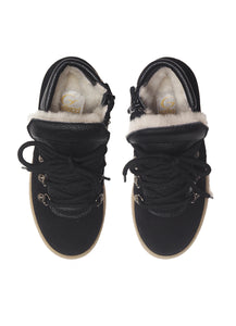 High-top sneakers in black velour with fur