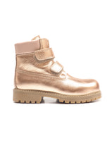 Load image into Gallery viewer, Double straps boots in metallic effect champagne elk leather