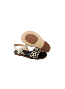 Sandals in Beige Patent Leather and Animalier Effect Pony Hair Leather