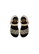 Load image into Gallery viewer, Sandals in Beige Patent Leather and Animalier Effect Pony Hair Leather