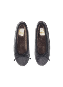 Ballerinas in black lurex with shearling