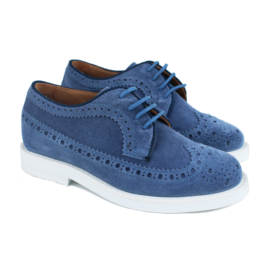 Long wing brogue shoes in blue suede