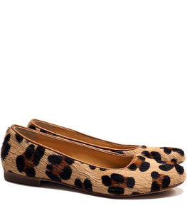 Ballerinas in animalier effect pony hair leather