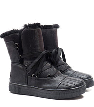 Load image into Gallery viewer, Boots in black elk leather and black lurex with fur