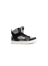 Load image into Gallery viewer, High-top sneakers in silver glitter fabric with calf lining leather