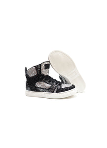 High-top sneakers in silver glitter fabric with calf lining leather