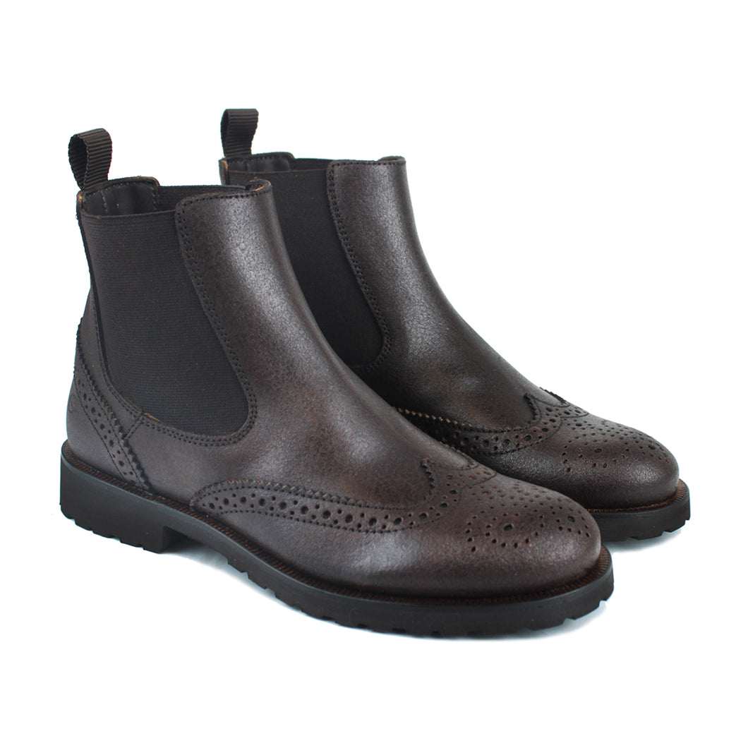 Chelsea boot in brown calf leather with vintage effect
