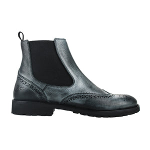 Chelsea boot in black calf leather with vintage effect