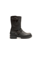 Load image into Gallery viewer, Double buckles boots in elk black leather