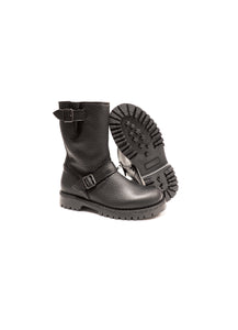 Double buckles boots in elk black leather