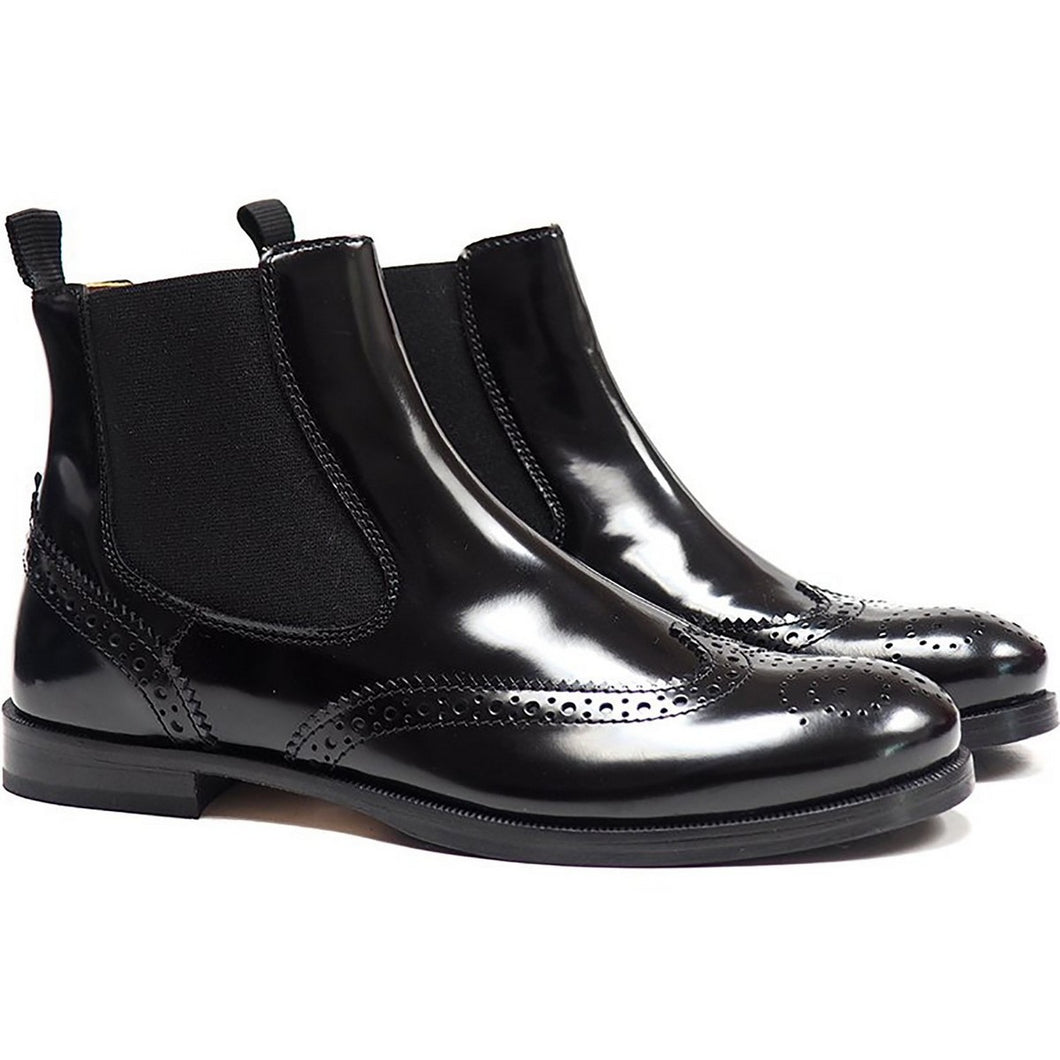 Brogues chelsea boots in black calf leather
