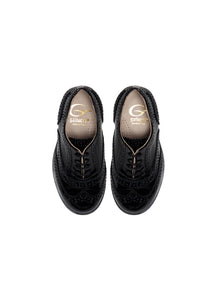 Brogue oxford in black patent leather