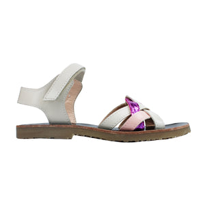 Sandals in beige/pink/violet leather