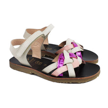 Load image into Gallery viewer, Sandals in beige/pink/violet leather