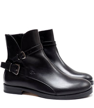 Load image into Gallery viewer, Boots in black calf leather with two buckles
