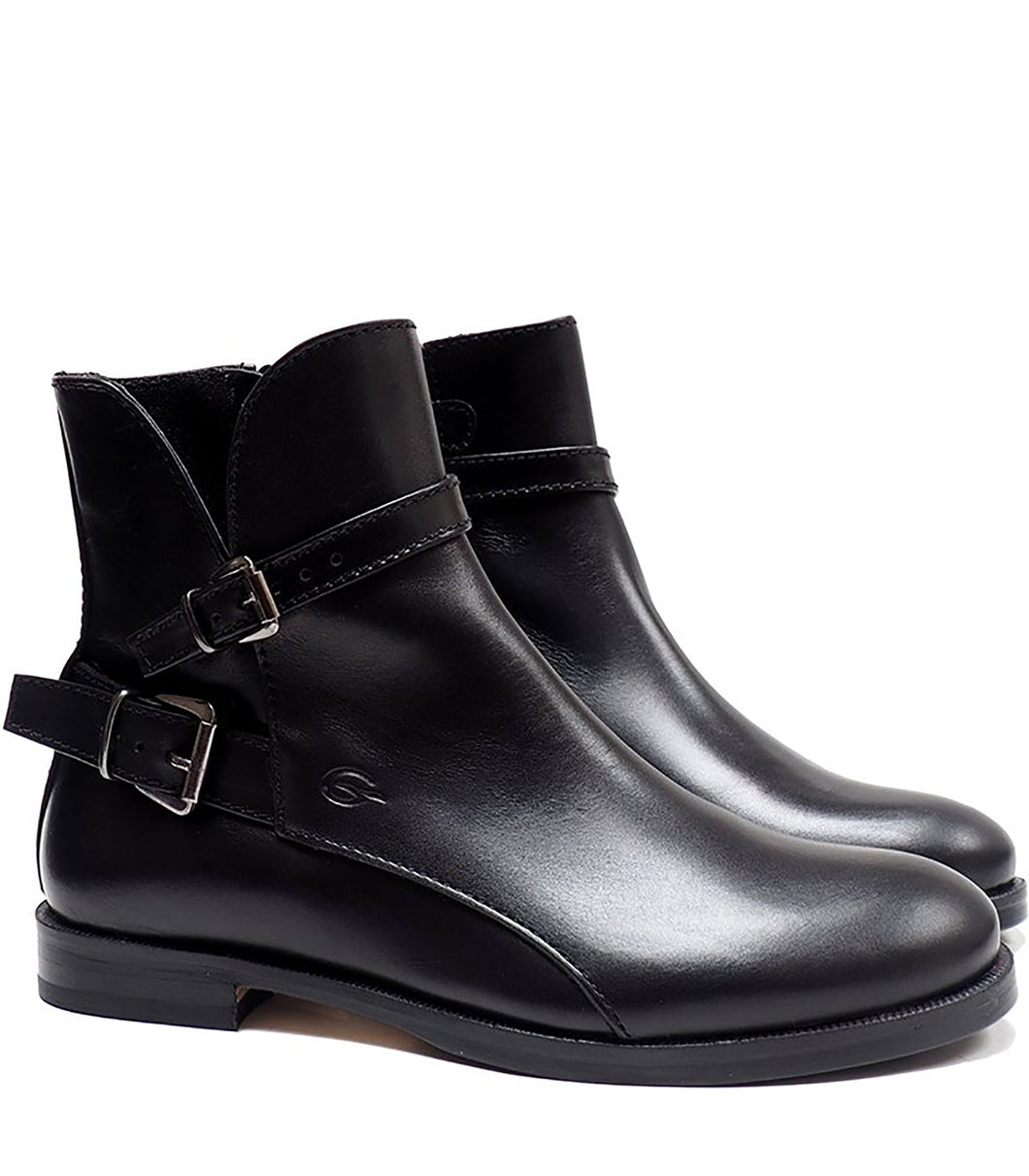 Boots in black calf leather with two buckles