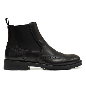 brogue Chelsea boots in black calf
