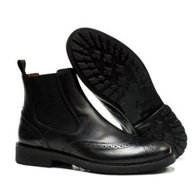 Load image into Gallery viewer, brogue Chelsea boots in black calf