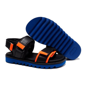 Double Strap Sandals in Black Calf Leather and Orange Details