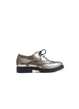 Load image into Gallery viewer, Brogue oxford in black and silver leather