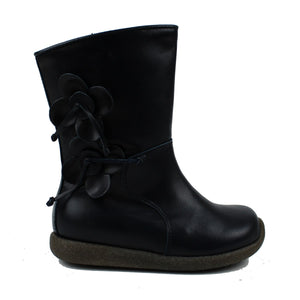 Toddler boot in navy calf and leather tonal flowers