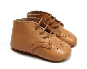 Newborn brogue Shoes in light brown leather