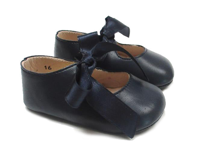 Baby Girls Newborn Shoes in blue leather