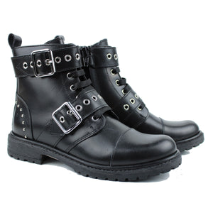 Boots in black calf leather with buckles and small dot