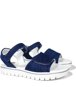 Double Strap Sandals in Denim