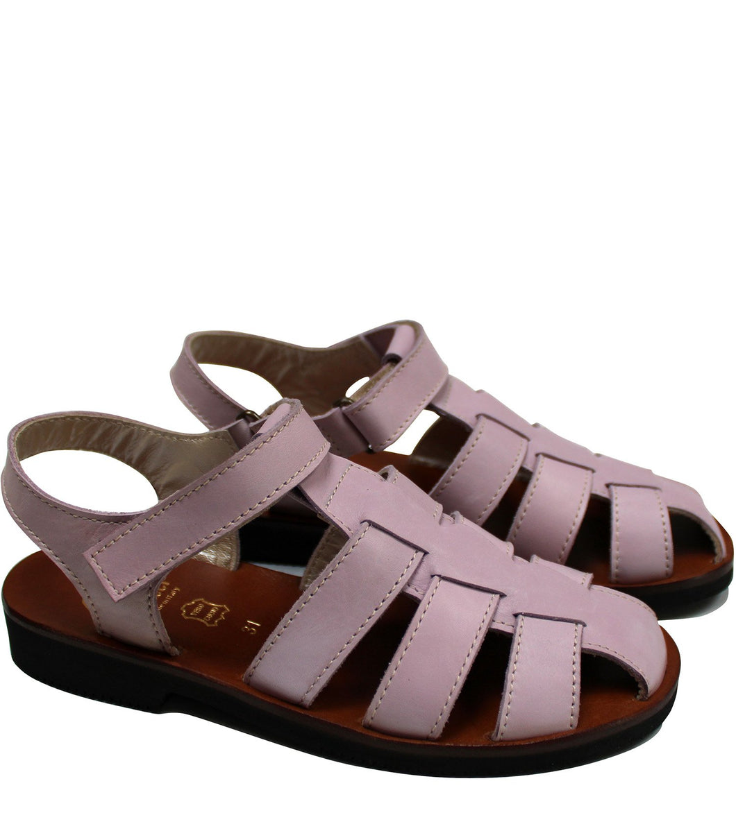 Straps sandals in liliac leather