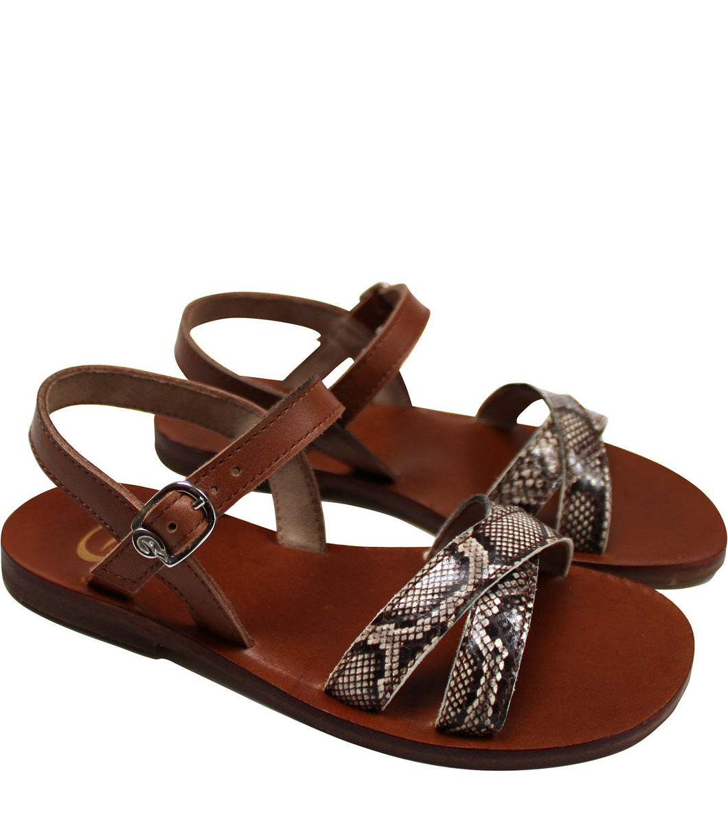 Brown leather sandals in snake print