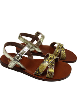 Gold leather sandals in snake print