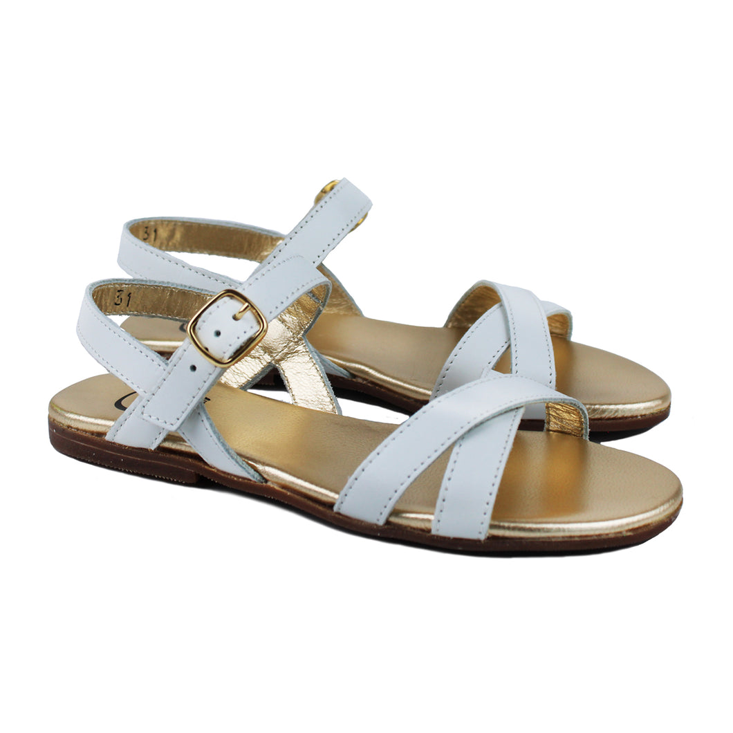 Sandals in white leather and golden lining