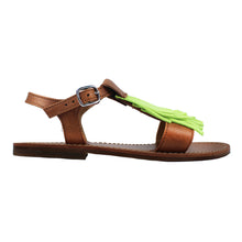 Load image into Gallery viewer, Sandal in tan leather and yellow fluo fringe