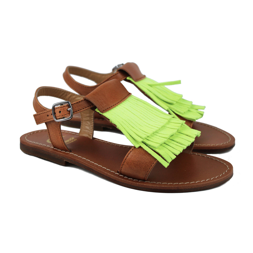 Sandal in tan leather and yellow fluo fringe
