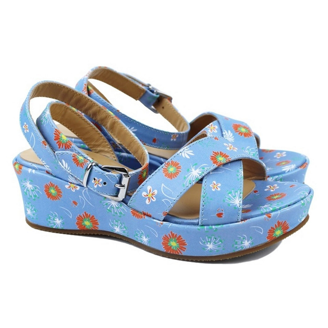 Blue Sandals with iconic flower print and plateau