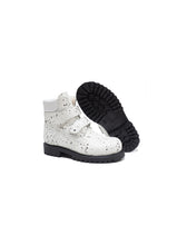 Load image into Gallery viewer, Double Strap Boots in White Spryed Effect Elk Leather with Fur
