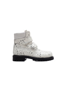 Double Strap Boots in White Spryed Effect Elk Leather with Fur
