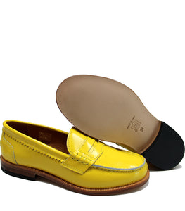 Yellow loafers in polished leather