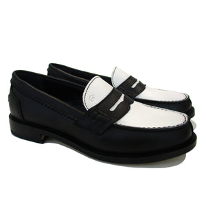 Penny loafer in black/withe leather