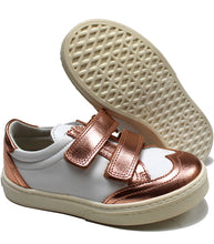 Load image into Gallery viewer, Leather sneakers white and metallic blush