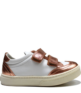 Leather sneakers white and metallic blush