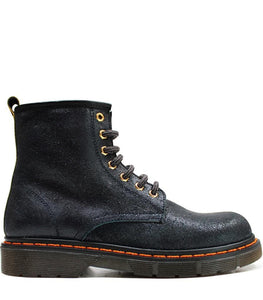 Lace up boots in deep blue leather